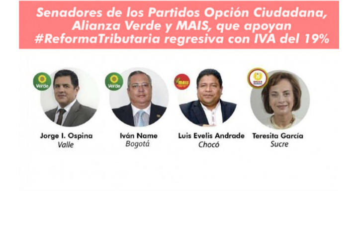 Los que votaron favorablemente la reforma tributaria en los partidos MAIS, Alianza Verde y Opición Ciudadana