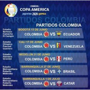 calendario copa américa 2020